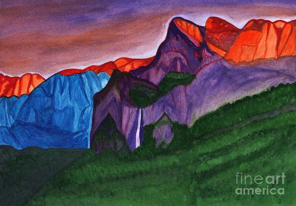Painting - Snowy Peaks Of The Mountains With A Waterfall Lit Up By The Orange Dawn by Irina Dobrotsvet