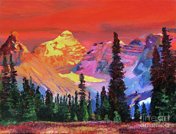 Painting - Sunset In The Rocky Mountains by David Lloyd Glover