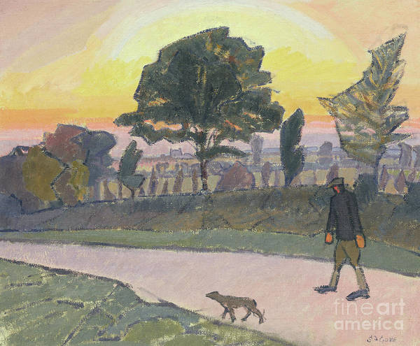 Wall Art - Painting - Sunset, Letchworth, With Man And Dog, 1912 by Spencer Frederick Gore