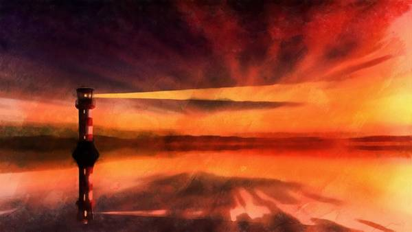 Wall Art - Painting - Sunset Lighthouse by Harry Warrick