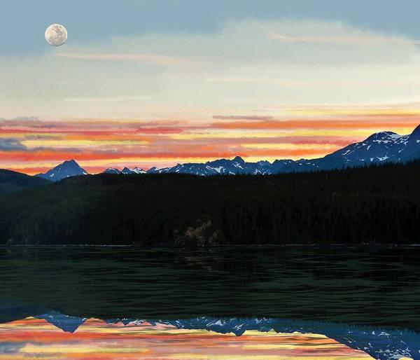 Mixed Media - Sunset Moon Over Alaska1 by Joan Stratton