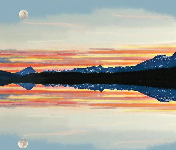 Mixed Media - Sunset Moon Over Alaska2 by Joan Stratton