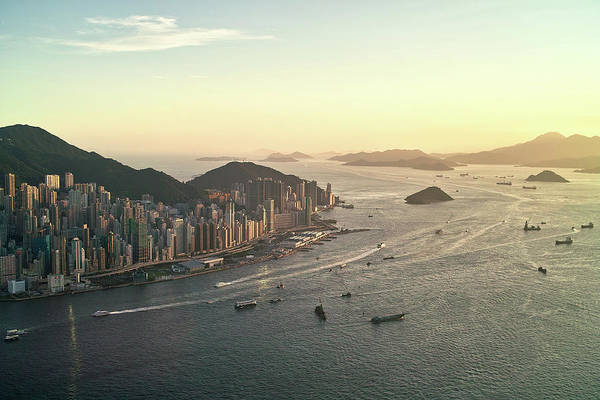 Cityscape Photograph - Sunset Of Hong Kong Victoria Harbor by Jimmy Ll Tsang