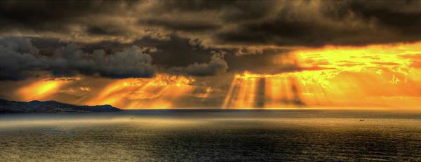 San Sebastian Photograph - Sunset Of The Cantabrian See Shore by Pfe