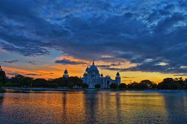 Kolkata Photograph - Sunset On A Cloudy At Victoria Memorial by Creativity Has No Limit. An Image Can Tell Million Words.