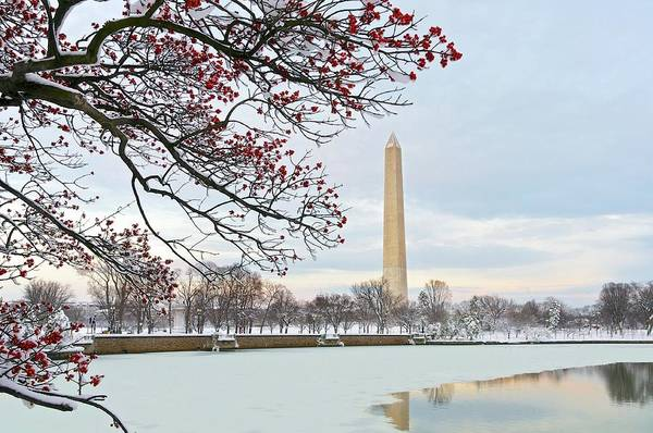 Tidal Basin Photograph - Sunset On A Snowy Washington Monument by John Baggaley
