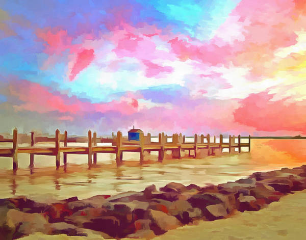 Mixed Media - Sunset On Dewey Bay Painting by Trish Tritz