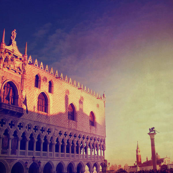 St Mark's Basilica Photograph - Sunset On Doges Palace In Venice by Marco Misuri