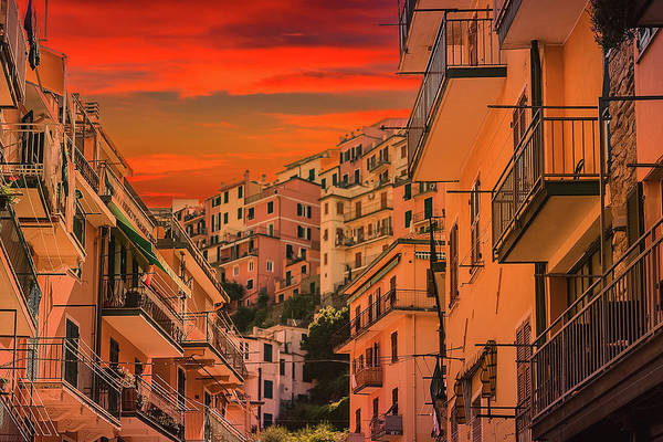 Wall Art - Photograph - sunset on Italian town by Gone With The Wind