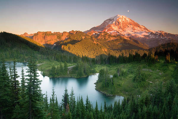Pinnacles Photograph - Sunset On Mount Rainer With Eunice Lake by Philip Kramer