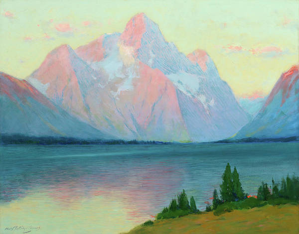 Wall Art - Painting - Sunset On Mt. Moran From Jackson by Charles Partridge Adams
