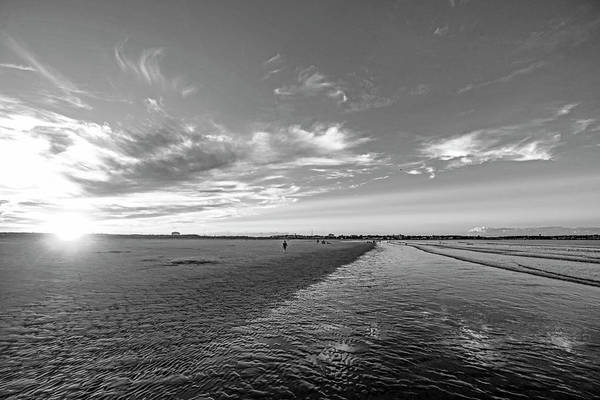 Photograph - Sunset On Nahant Beach Nahant Ma Black And White by Toby McGuire