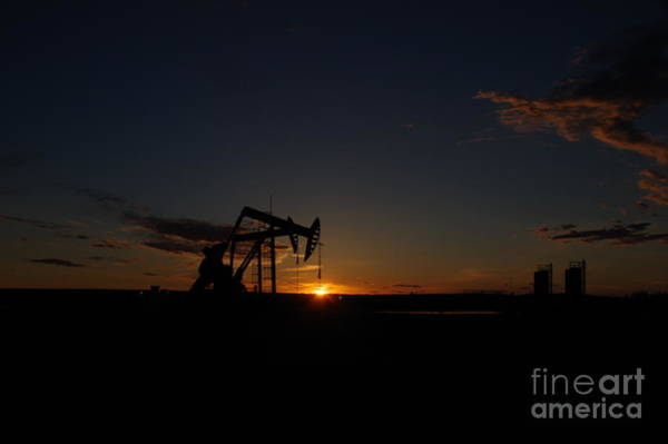Wall Art - Photograph - Sunset On Pumpjacks by Jeff Swan