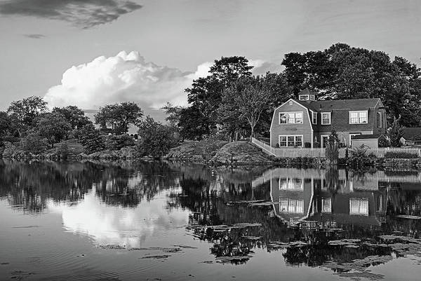 Photograph - Sunset On Redds Pond Marblehead Ma Red Clouds Black And White by Toby McGuire