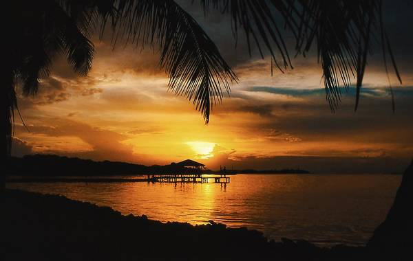 Wall Art - Photograph - Sunset On Roatan by Stephen Anderson