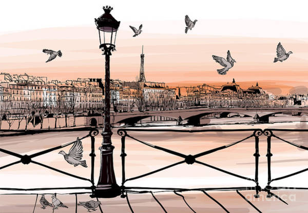 Wall Art - Digital Art - Sunset On Seine River From Pont Des by Isaxar