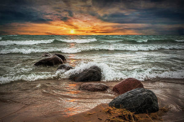 Wall Art - Photograph - Sunset On Sturgeon Bay In Lake Michigan by Randall Nyhof