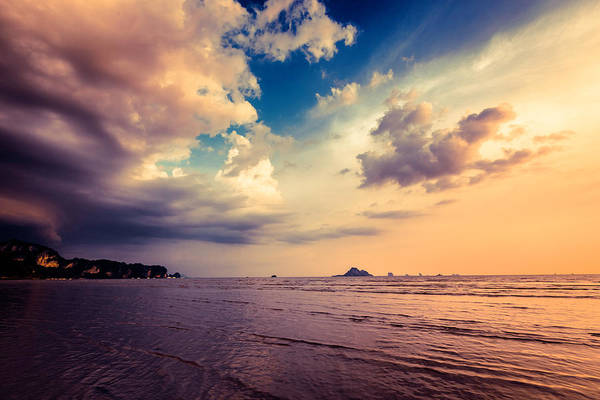 End Of Summer Photograph - Sunset On The Beach, Stormy Clouds by Moreiso