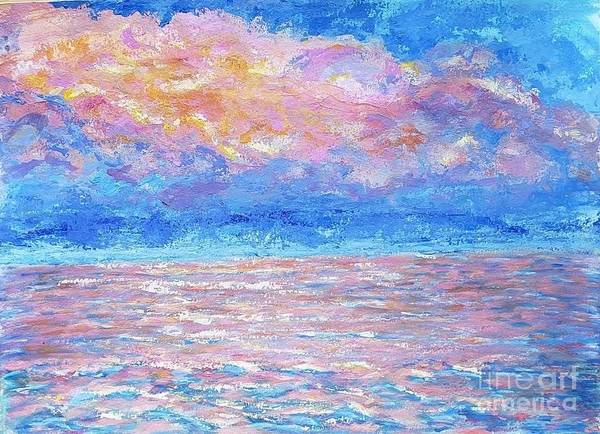 Wall Art - Painting - Sunset On The Ocean by Olga Malamud-Pavlovich