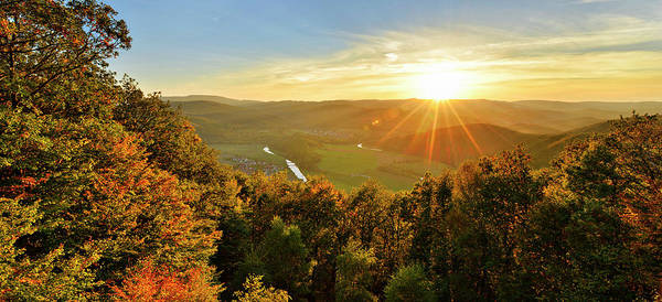 Wall Art - Photograph - Sunset On The Teufelskanzel In Autumn View Into The Werra Valley With The Village Lindewerra by imageBROKER - Andreas Vitting