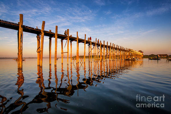 Myanmar Wall Art - Photograph - Sunset On U Bein Bridge, Amarapura by Martinho Smart