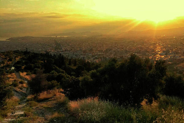 Photograph - Sunset Over Athens Greece by Gerlinde Keating - Galleria GK Keating Associates Inc