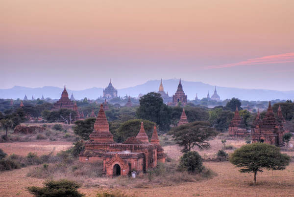 Stupa Photograph - Sunset Over Bagan, Many Pagodas In Front by Juergen Ritterbach