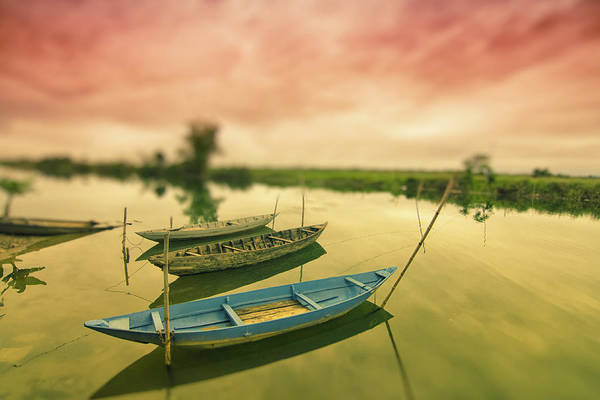 Hoi An Photograph - Sunset Over Boats In Hoi An by By Kim Schandorff