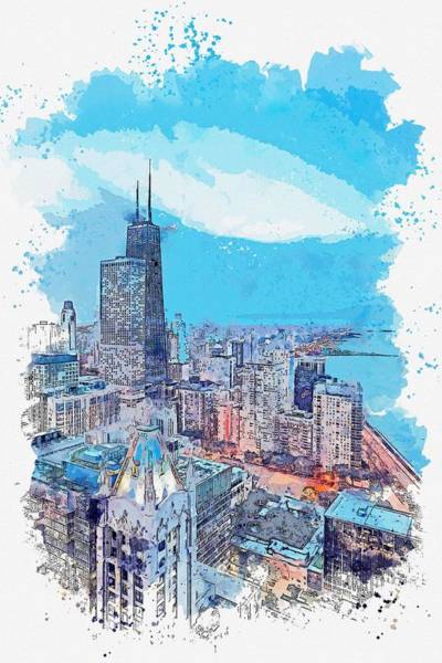 Wall Art - Painting - Sunset Over Chicago Watercolor By Ahmet Asar by Celestial Images