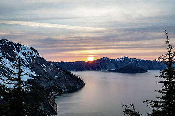 Photograph - Sunset Over Crater Lake by M C Hood
