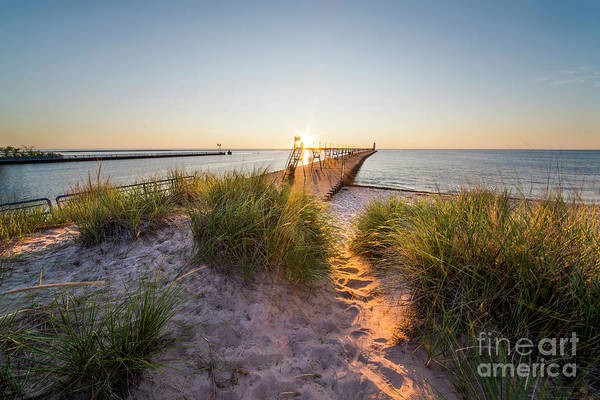 Wall Art - Photograph - Sunset Over Dunes And Pier by Twenty Two North Photography