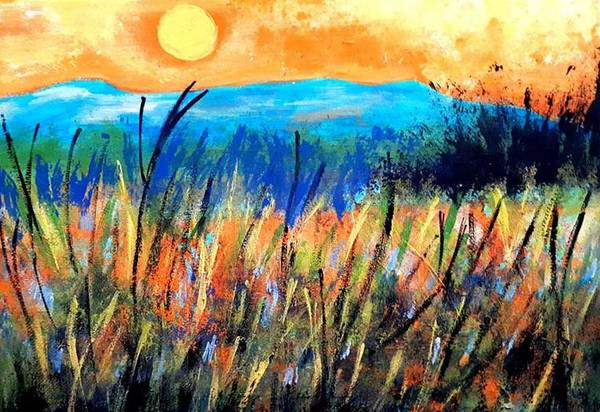 Painting - Sunset Over Fields by Nikki Dalton