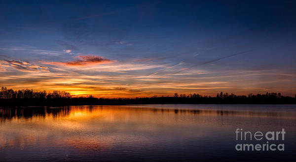 Photograph - Sunset Over Laupheim Quarry by Bernd Laeschke