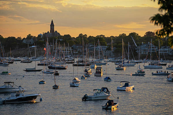 Photograph - Sunset Over Marblehead Harbor And Abbot Hall Chandler Hovey Park by Toby McGuire