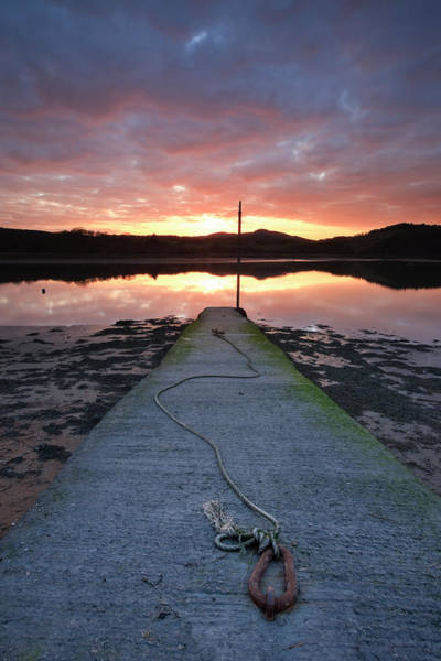 Galloway Wall Art - Photograph - Sunset Over River Urr And An Old Jetty by Simon Butterworth