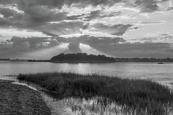 Photograph - Sunset Over Snake Island In Winthrop Ma From Coughlin Park Green Grass Black And White by Toby McGuire
