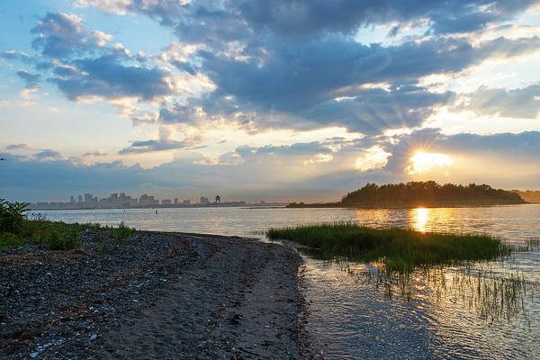 Wall Art - Photograph - Sunset Over Snake Island In Winthrop Ma From Coughlin Park Green Grass Boston Skyline by Toby McGuire