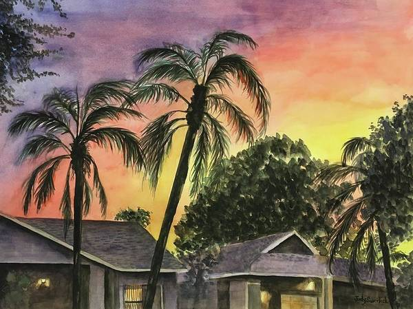 Wall Art - Painting - Sunset Over Tamarind Village by Judy Swerlick