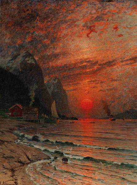 Painting - Sunset Over The Fjord by Adelsteen Normann