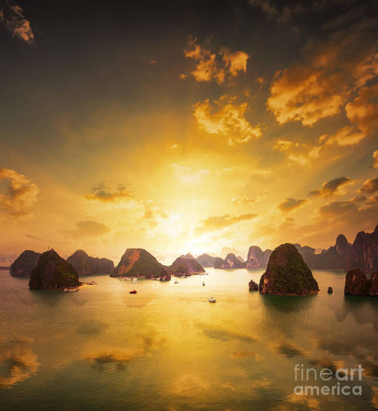 Wall Art - Photograph - Sunset Over The Islands Of Halong Bay by Banana Republic Images