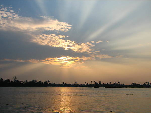 Kerala Photograph - Sunset Over The Kerala Backwaters by Mckay Savage