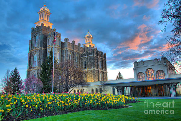Photograph - Sunset Over The Logan Temple Grounds by Adam Jewell