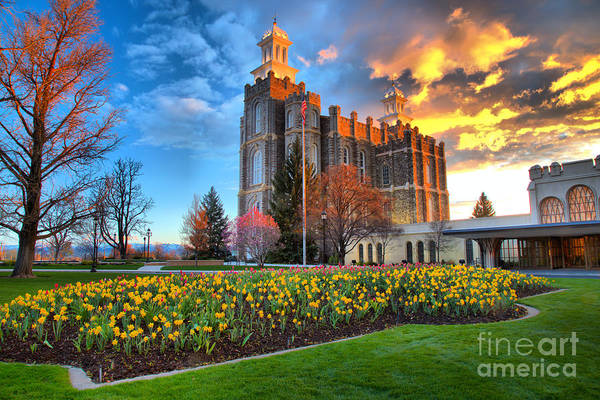 Photograph - Sunset Over The Logan Utah Temple by Adam Jewell
