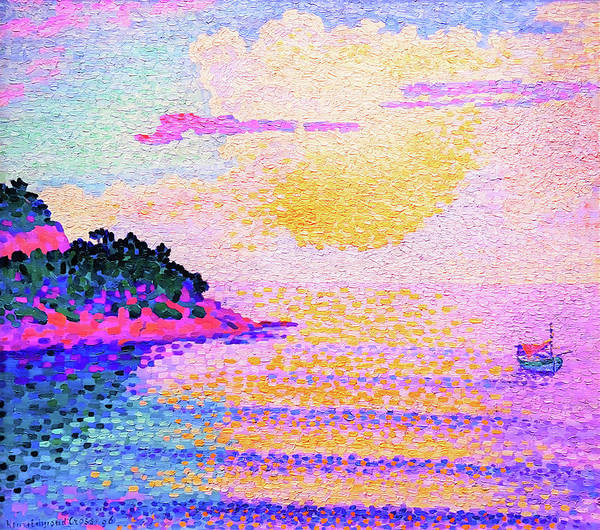Wall Art - Painting - Sunset Over The Sea - Digital Remastered Edition by Henri Edmond Cross