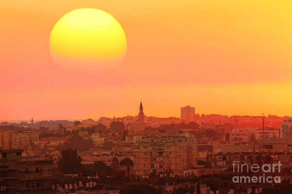 New Age Wall Art - Photograph - Sunset Over The Town.old City Of Tel by Protasov An