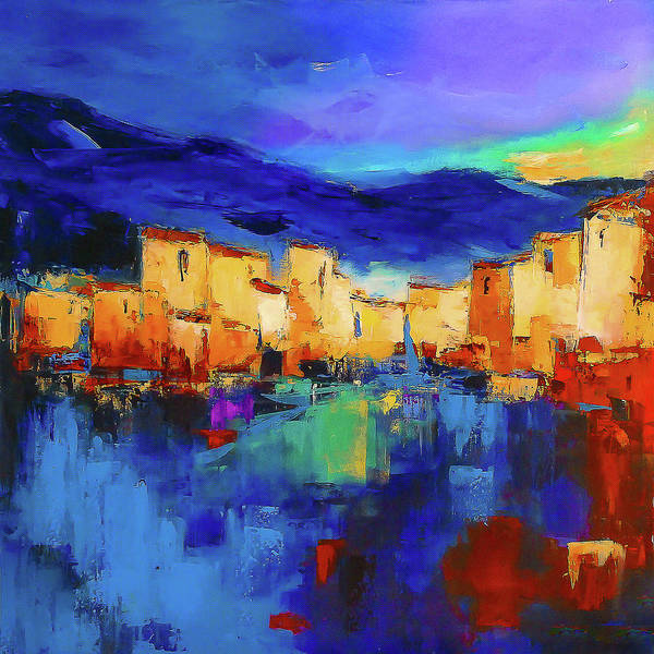 Blue Sky Wall Art - Painting - Sunset Over The Village by Elise Palmigiani