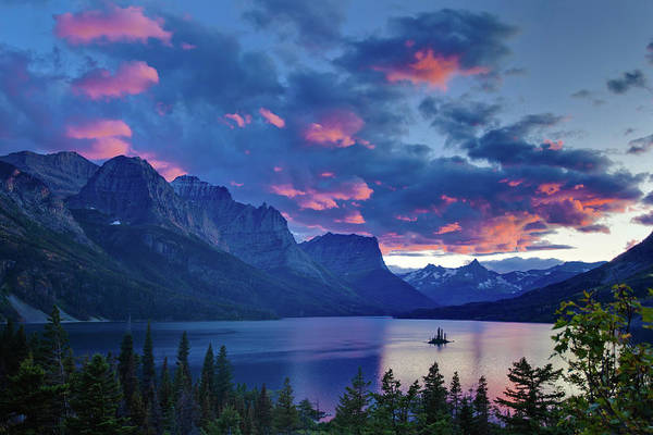 Montana State Photograph - Sunset Over Wild Goose Island by J. Andruckow