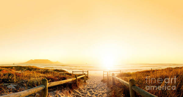 Wall Art - Photograph - Sunset Panorama Hdr Of A Beach Near by Daxiao Productions