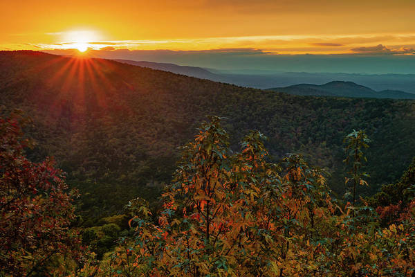 Photograph - Sunset Point Vista - Talimena Scenic Byway In Autumn by Gregory Ballos