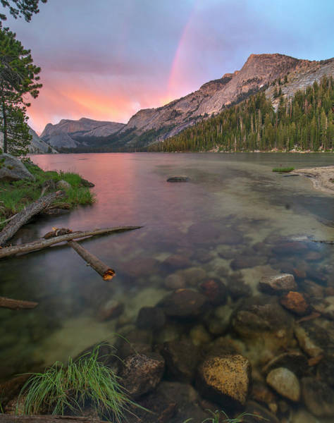Wall Art - Photograph - Sunset Rainbow At Lake Tenaya, Yosemite by Tim Fitzharris